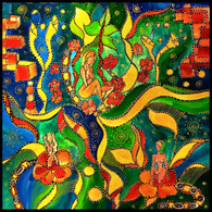 """Midnight in the Garden"" - CONTEMPORARY ORIGINAL ACRYLIC  ""S"" PAINTING ON CANVAS"