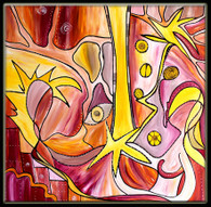 """Soul-mates""  CONTEMPORARY ORIGINAL ACRYLIC ""M"" PAINTING ON CANVAS"