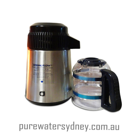 Stainless steel water distiller with glass jug