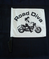 Approx. Flag Size:  11 in. x 15 in. 2-Ply Durable Weather-resistant fabric *FULL COLOR* Printed on Both Sides Double-Sided 2 Ply Flags with the Road Diva design on both sides with a Sissy bar Style Pole.   Road Diva Products is a retail company and has no affiliation with any motorcycle club.