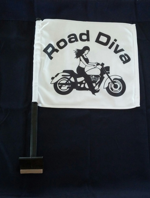 Approx. Flag Size:  11 in. x 15 in. 2-Ply Durable Weather-resistant fabric *FULL COLOR* Printed on Both Sides Double-Sided 2 Ply Flags with the Road Diva design on both sides with a Trunk Style Pole.   Road Diva Products is a retail company and has no affiliation with any motorcycle club.