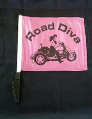 Approx. Flag Size:  11 in. x 1 5in. 2-Ply Durable Weather-resistant fabric *FULL COLOR* Printed on Both Sides Double-Sided 2 Ply Flags with the Road Diva design on both sides with a Sissy bar Style Pole.   Road Diva Products is a retail company and has no affiliation with any motorcycle club.