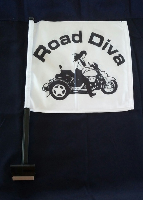 Approx. Flag Size:  11in. x 15in. 2-Ply Durable Weather-resistant fabric *FULL COLOR* Printed on Both Sides Double-Sided 2 Ply Flags with the Road Diva design on both sides with a Trunk Style Pole.   Road Diva Products is a retail company and has no affiliation with any motorcycle club.