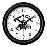 "Contemporary designed wall clock. Battery & individual box included. Colors available: Black Product size: 12"" x 1"" made when ordered can take up to two weeks for deliver.  Road Diva Products is a retail company and has no affiliation with any motorcycle club."