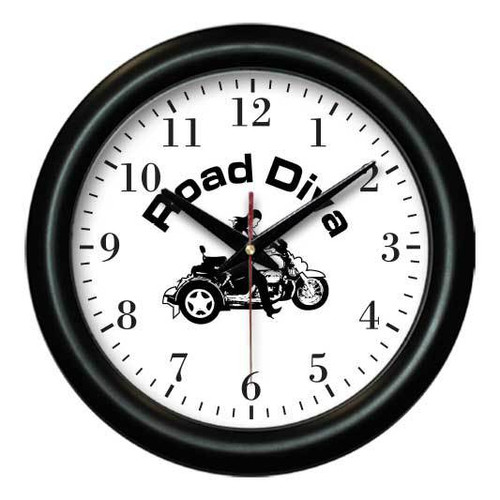 """Contemporary designed wall clock. Battery & individual box included. Colors available: Black Product size: 12"""" x 1"""" made when ordered can take up to two weeks for deliver.  Road Diva Products is a retail company and has no affiliation with any motorcycle club."""