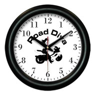 "Contemporary designed wall clock. Battery & individual box included. Colors available: Black Product size: 12"" x 1"" made when ordered can take up to two weeks for delivery  Road Diva Products is a retail company and has no affiliation with any motorcycle club."