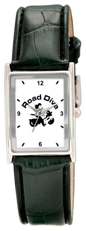 Polish alloy case. Sunray dial with raised indexes. Black Padded stitch leatherette straps.  Colors: Silver Size: Unisex This watch is made when ordered and can take up to two weeks for delivery   Road Diva Products is a retail company and has no affiliation with any motorcycle club.