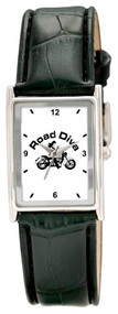 Polish alloy case. Sun ray dial with raised indexes. Black Padded stitch leatherette straps.  Colors: Silver Size: Unisex This watch is made when ordered and can take up to two weeks for delivery   Road Diva Products is a retail company and has no affiliation with any motorcycle club.