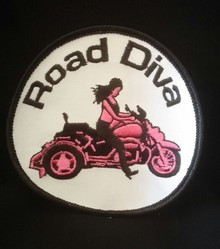 Patch is White, Pink and Black is 3 1/2 inches X 3 1/2 inches  Road Diva Products is a retail company and has no affiliation with any motorcycle club.