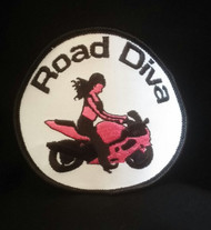 Patch is White, Pink and Black 3 1/2 inches X 3 1/2 inches  Road Diva Products is a retail company and has no affiliation with any motorcycle club.