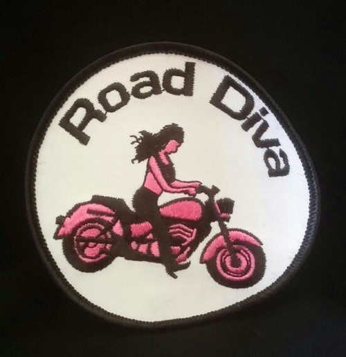 White, Pink and Black Patch is 3 1/2 inches X 3 1/2 inches  Road Diva Products is a retail company and has no affiliation with any motorcycle club.