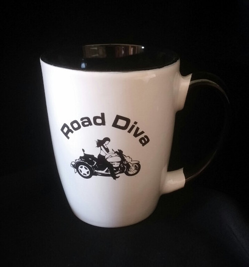 "12 oz Java Two Tone Mugs Holds 12 ounces White ceramic on the outside and black the inside 4.75"" W x 4.25"" H  Road Diva Products is a retail company and has no affiliation with any motorcycle club."