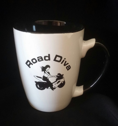 """12oz Java Two Tone Mugs Holds 12 ounces White ceramic on the outside and black the inside 4.75"""" W x 4.25"""" H  Road Diva Products is a retail company and has no affiliation with any motorcycle club."""