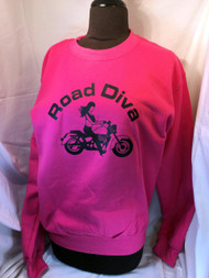 Cotton: 50/50 Weight: 7.75 Oz Sizes: S, M, L, XL, 2XL, 3XL Features: 50/50 cotton/poly reshrunk crew neck sweatshirt Pill resistant air jet spun yarn 1x1 Lycra spandex ribbed collar and cuffs Fully double needle stitched Set-in sleeves Tag  Road Diva Products is a retail company and has no affiliation with any motorcycle club.