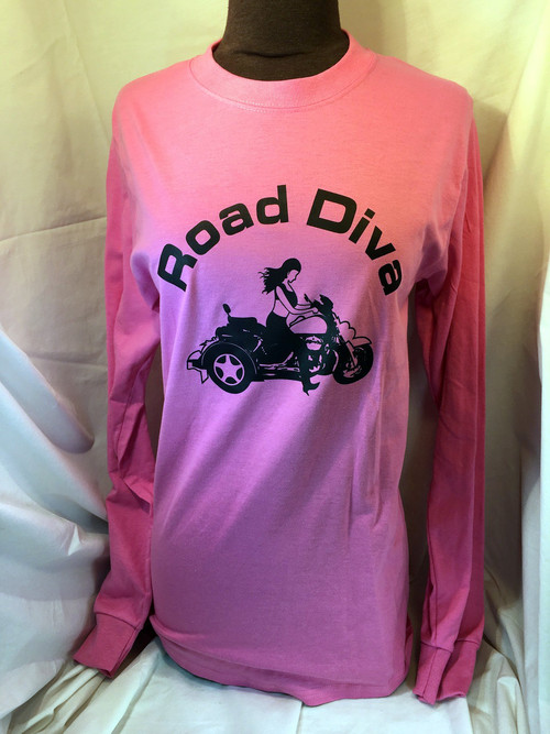 Road Diva Ash Grey Trike Girl Motorcycle Long Sleeve Tee Shirt Cotton: 50/50 Weight: 5.6 Oz Sizes: S, M, L, XL, 2XL, 3XL Features: 50% cotton/50% polyester Colors below are not 50% cotton Double needle cover seaming at front neck Rib collar Taped shoulder to shoulder Double needle hemmed bottom Long set in sleeves with clean finished 1x1 rib cuff  Road Diva Products is a retail company and has no affiliation with any motorcycle club.