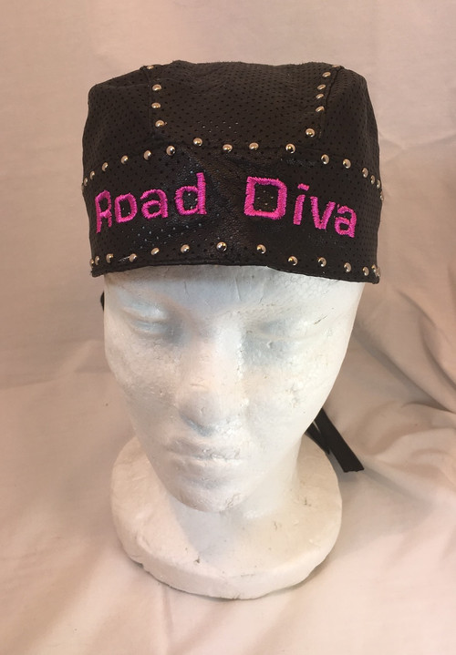 Black Leather Studded Skull Cap one size fits most