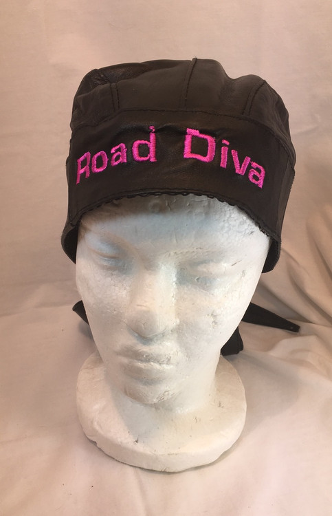 Black Leather Skull Cap one size fits most