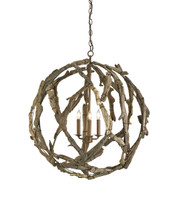 Driftwood Orb Chandelier By Currey & Company