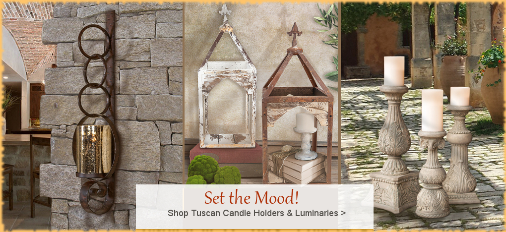 Farmhouse Candle Holders | Free Shipping, No Sales Tax | BellaSoleil Tuscan Decor Since 1996