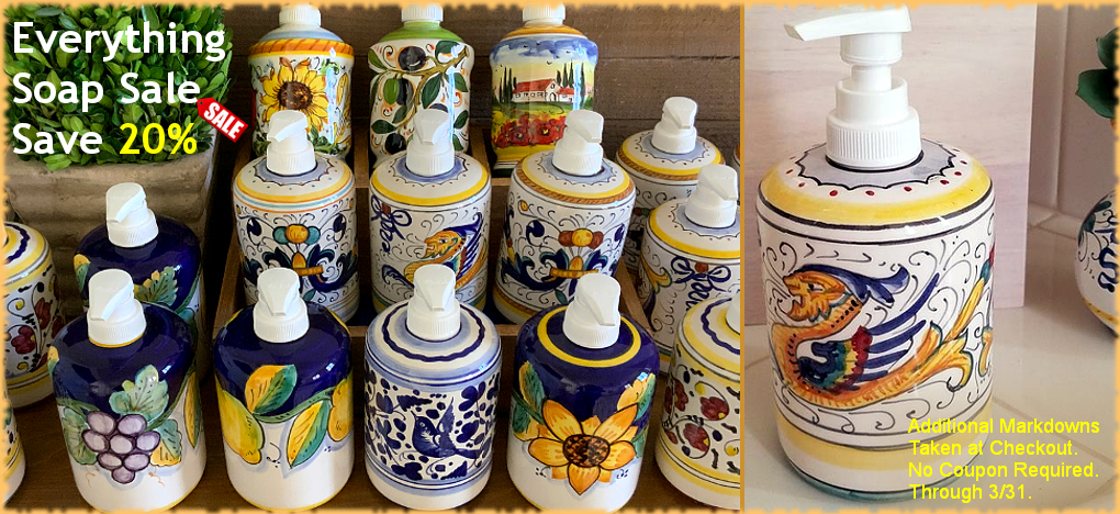 Italian Soap Pumps Sale Handmade in Italy   Free Shipping, No Sales Tax   BellaSoleil.com Since 1996
