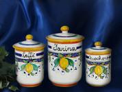 Deruta Coffee, Sugar, Flour Canisters, | Deruta Caffe, Zucchero, Farina Canisters