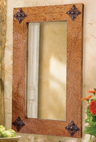 Rustic Leather Mirror
