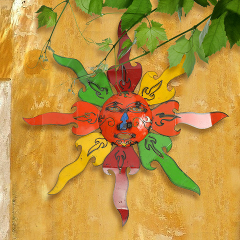 Reclaimed Metal Sun Wall Art,  Tuscan Sun Wall Art