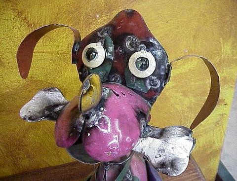 Metal Basset Hound Statue