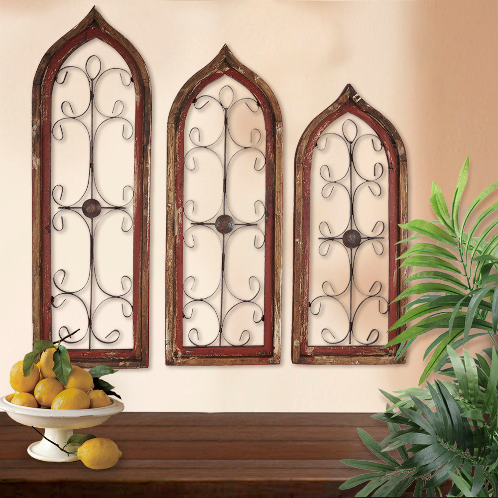 Distressed Window Wall Grilles Red Set Of 3 Bellasoleil Com