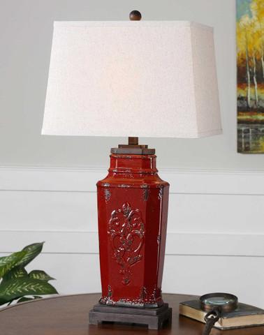 Tuscan Lamp, Tuscan Red Ceramic Lamp