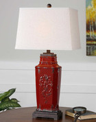 Tuscan Lamp, Tuscan Red Ceramic Lamp
