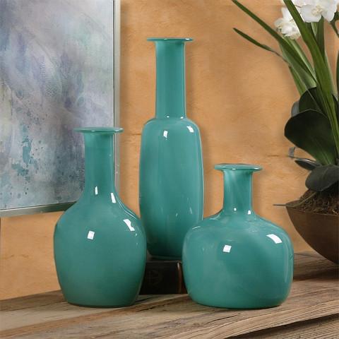 Turquoise Vase, Tuscan Vase, Turquoise Glass Vase
