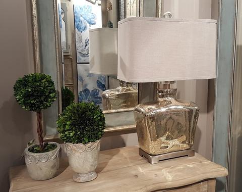 Tuscan Lamp, Mercury Glass Lamp, Molinara Mercury Glass Lamp