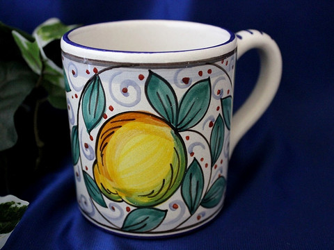 Deruta Lemon Coffee Cup, Deruta Coffee Cup, Deruta Coffee Mug