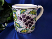 Deruta Grape Coffee Cup, Deruta Coffee Cup, Deruta Coffee Mug