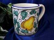 Deruta Pears Coffee Cup, Deruta Coffee Cup, Deruta Coffee Mug