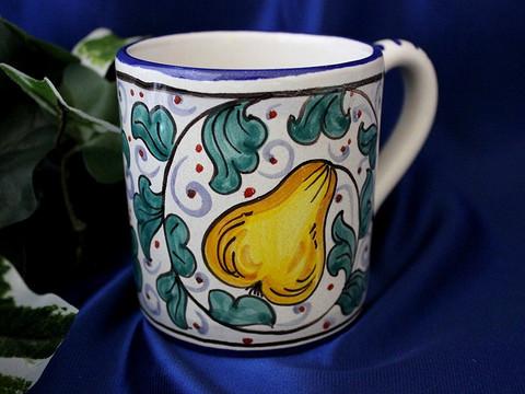 Deruta Pears Coffee Cup, Deruta Coffee Cup, Deruta Coffee Mug