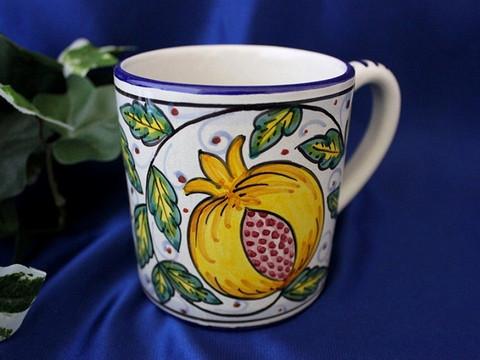 Deruta Pomegranates Coffee Cup, Deruta Coffee Cup, Deruta Coffee Mug