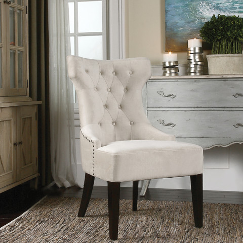 White Tufted Wing Chair, Tufted Wing Chair