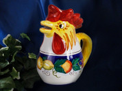 Deruta Lemon Rooster Pitcher, Deruta Fruit Rooster Pitcher, Italian Rooster Pitcher