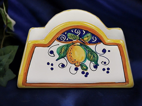 Deruta Napkin Holder, Deruta Lemon Napkin Holder
