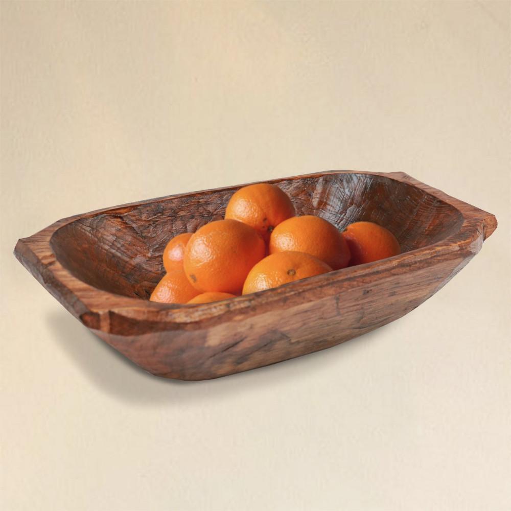 Food Safe Deep Wooden Dough Bowl with Handles