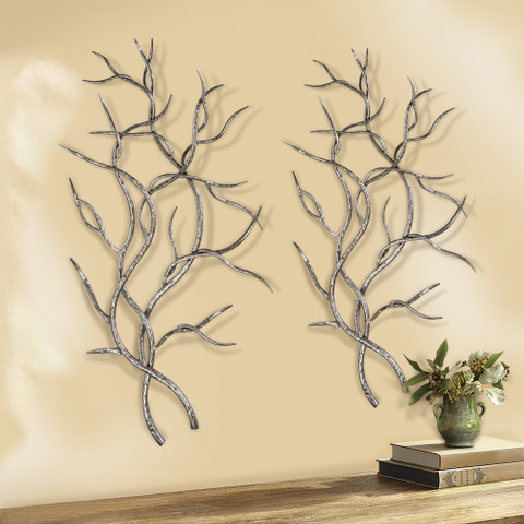 Iron Branches Wall Art, Iron Tree Branches Wall Art, Silver Branches Wall Art
