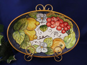 Tuscan Lemons Grapes Fruit Serving Dish, Tuscan Lemon Grapes Fruit Serving Platter