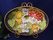 Tuscan Lemons Grapes Fruit Serving Dish, Tuscan Lemon Grapes Fruit Serving Platter