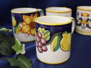 Deruta Tuscan Lemons Grapes Coffee Mug, Deruta Tuscan Lemons Grapes Coffee Cup
