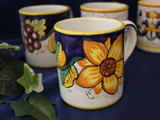 Deruta Tuscan Sunflowers Coffee Mug, Deruta Tuscan Sunflowers Coffee Cup