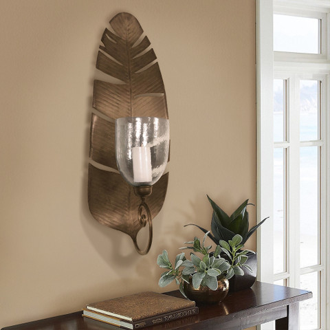 Banana Leaf Wall Sconce, Tropical Leaf Wall Sconce
