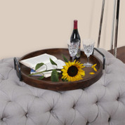 Round Serving Tray, Wooden Ottoman Tray