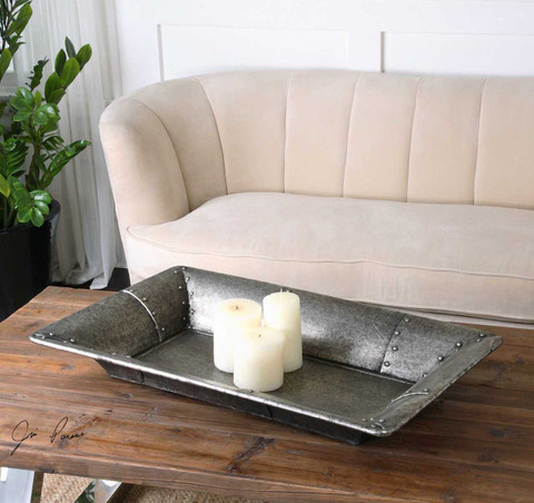 Metal Serving Tray, Studded Metal Ottoman Tray